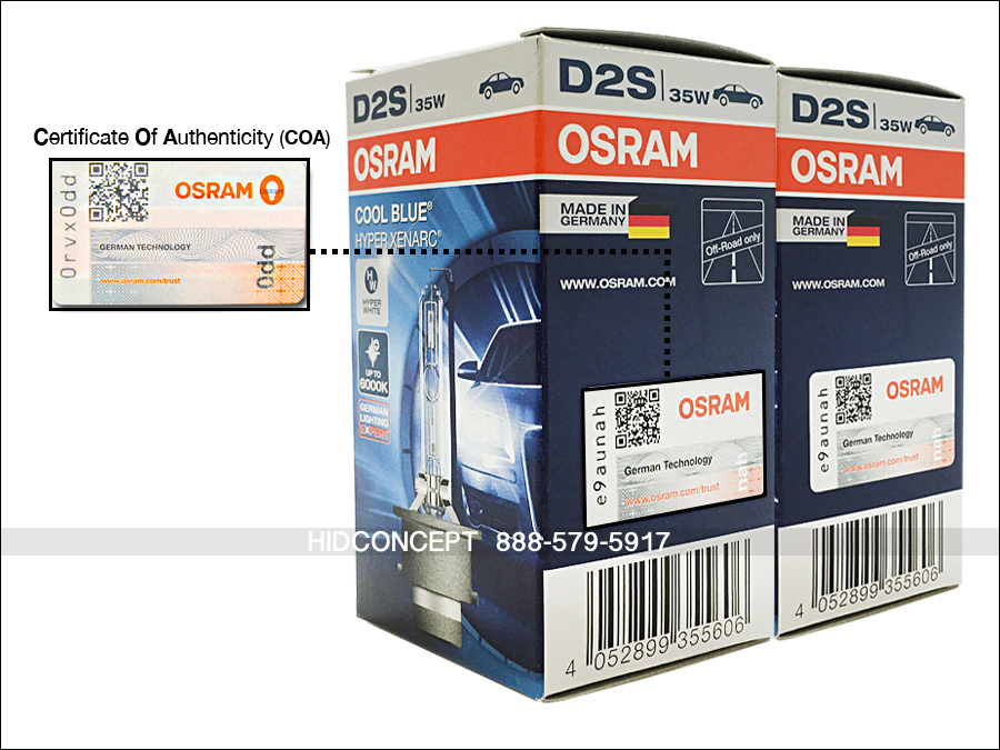 D2s Osram Cool Blue Hyper Hid Xenon Bulbs 66240 6000k