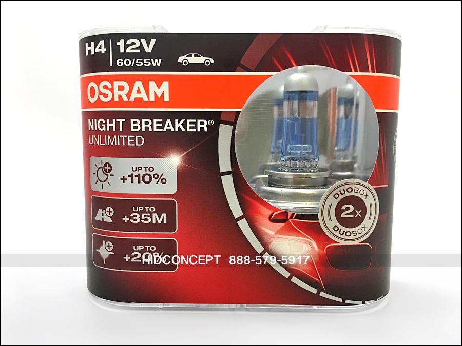 new h4 osram night breaker unlimited 12v 110 halogen. Black Bedroom Furniture Sets. Home Design Ideas