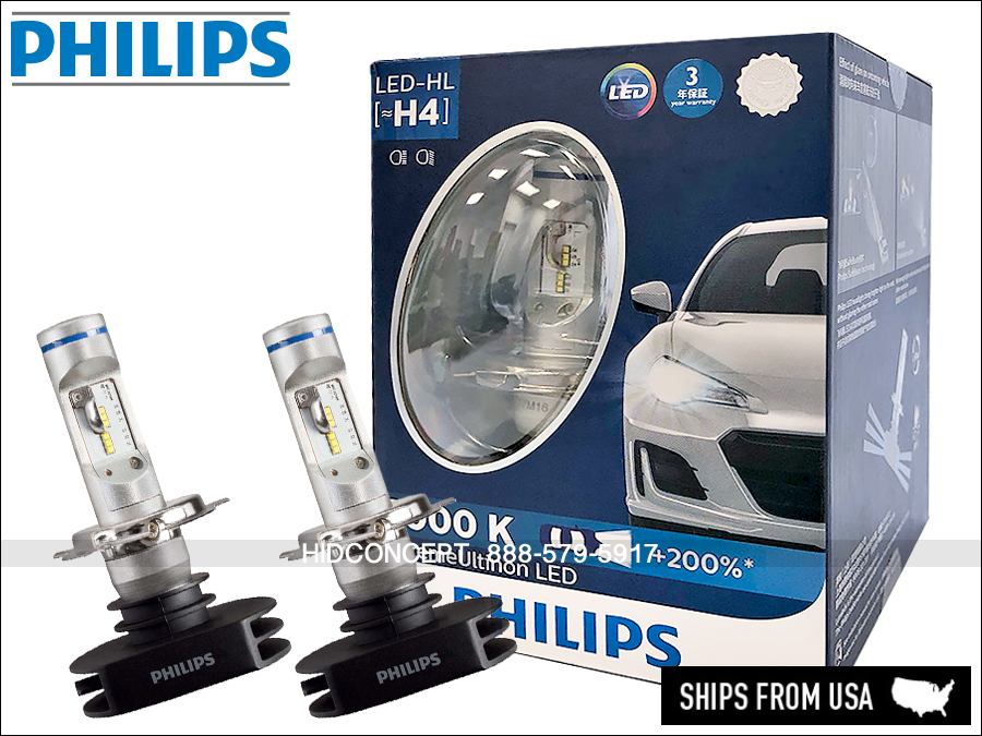 NEW! H4 PHILIPS LED X Treme Ultinon 12953BWX2 Hi/Low Beam 6000K Up ... Design Inspirations