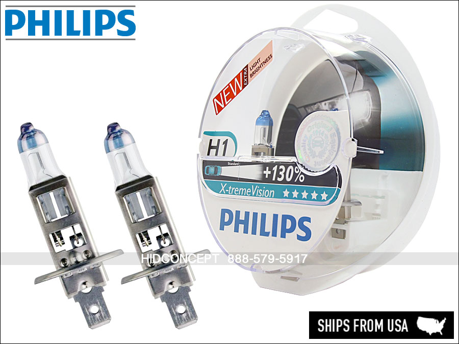 Strålande New! Set of H1 PHILIPS X-treme Vision 130% Upgrade Headlight Bulbs BD-85